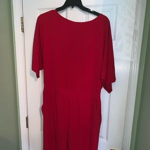 New York and company red open back jumpsuit xl